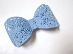 Vintage Early Plastic Lightweight Filigree Baby Blue Bow Brooch Pin