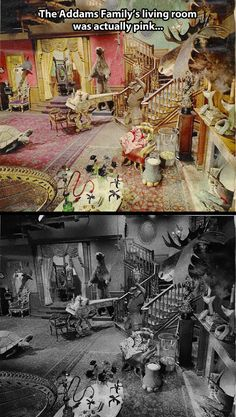 Addams Family Living room was really pink....somehow that makes it more creepy.