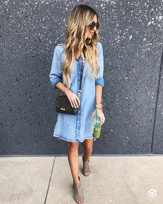 Hollie Woodward: The cutest chambray shirtdress + booties for dinner with the fam tonight