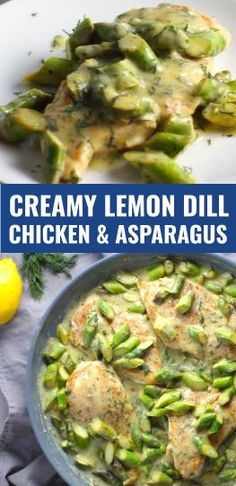 Creamy bright herby and lemony this is a healthy SPRING recipe! Lemon Dill Sauce Chicken and Asparagus has chicken in a light and creamy sauce flavored with garlic lemon and fresh dill. It's loaded with fresh asparagus. Dill Recipes, Herb Recipes, Easy Chicken Recipes, Dinner Recipes, Cod Recipes, Ramen Recipes, Potato Recipes, Vegetarian Recipes, Dill Chicken