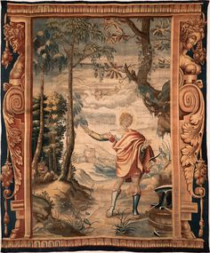 Fantastic late 17th century tapestry of Apollo who has just caught Venus 'In flagrante delicto' with Mars the ancient God of war