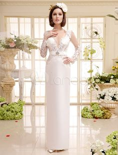 Ivory Vintage V-Neck Floor-Length Split Lace Bridal Wedding Dress with Rhinestone - Milanoo.com