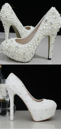 Cinderella's Wish Wedding Shoes. Bridal shoes.You must feel like a princess on the big day and these gorgeous crystal and pearl wedding shoes will do just that!  Adorned with pearls and crystals this unique style make your wedding day complete.  TheChicFind.com
