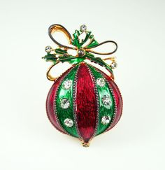 Vintage Eisenberg Ice Christmas Ornament Brooch.