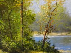 Original art for sale at UGallery.com | Lake in the Forest by NIKOLAY RIZHANKOV | $925 | Oil painting | 23.6' h x 31.5' w | http://www.ugallery.com/oil-painting-lake-in-the-forest