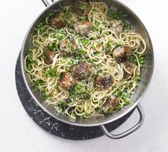 Springtime spaghetti & meatballs- For a warmer weather take on this Italian classic replace beef with pork and swap tomato sauce with garden greens. Meatball Recipes, Meat Recipes, Pasta Recipes, Cooking Recipes, Organic Pasta, Spaghetti And Meatballs, Pork Meatballs, Bbc Good Food Recipes, Food Shows