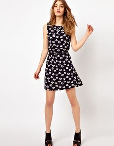6f28be91047 Oasis Dress in Bow Print in Blue (navy) - Lyst Oasis Dress