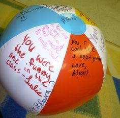 For the EOY party for one of my small ensembles, I bought each student a beach ball - the PE teacher let me use his air compressor to inflate them, and then we signed them like year books.  The kids loved it!