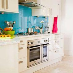 bright back painted glass backsplash Kitchen Backsplash, Backsplash Ideas, Splashback Ideas, Quartz Backsplash, Backsplash Design, Beadboard Backsplash, Kitchen Cabinets, Herringbone Backsplash, Kitchen Designs