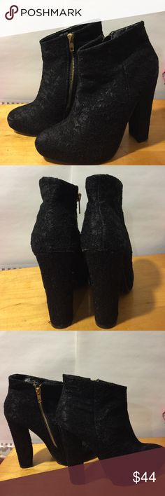 Black lace covered high-heeled  ankle boots In very good condition size 8 1/2 brass hardware zipper in the center clunky he'll 5 inches Diba Shoes Heeled Boots