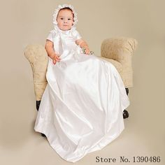 Elegant White Silk Toddler Boys and Girls Baptism Dresses for Newborn Baby Christening Gowns Robe Clothes