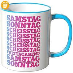 Wandkings® Tasse, Spruch: SAMSTAG SONNTAG SCHEISSTAG ... - BLAU - Tassen mit Spruch | Lustige Kaffeebecher (*Partner-Link)