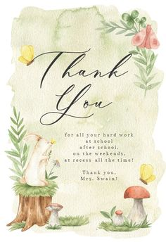 Summer Forest - Thank You Card #greetingcards #printable #diy #thankyou #notes #thanks Free Baby Shower Invitations, Baby Shower Cards, Thank You Card Template, Thank You Cards, Forest Baby Showers, Welcome New Baby, New Baby Cards, Printable Cards, New Baby Products