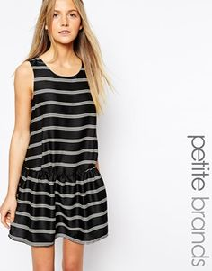 Enlarge Glamorous Petite Striped Pep Hem Dress