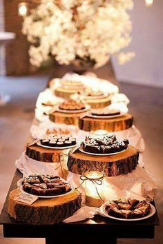 Very cute idea for a gathering...wood cuts. (outdoor party desserts)