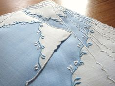 EXQUISITE & FINE Vintage 10 Madeira Hand Embroidery Linen Cocktail Napkins BLUE