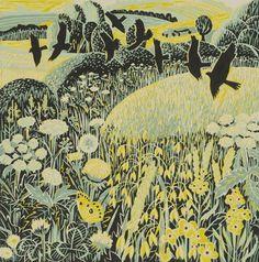 :Harvest Time, Annie Soudain, Lino cut: