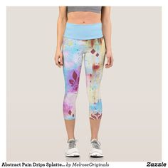 Abstract Pain Drips Splatters Cool Blue Colorful Capri Leggings White Capri Leggings, Tight Leggings, Capri Pants, Workout Capris, Yoga Capris, Yoga Wear, Look Cool, Things That Bounce, Cool Designs