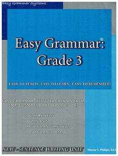 Easy Grammar Grade 3 includes unit reviews, unit tests, cumulative reviews, and cumulative tests Easy Grammar, Grade 3, Texts, The Unit, Teaching, Writing, Learning, Texting, Education