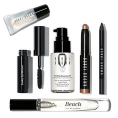 Ready, Set, Travel. Mini Crystal Lip Gloss (2ml), Mini Smokey Eye Mascara (3ml), Mini Soothing Cleansing Oil (30ml), Mini Long-Wear Cream Shadow Stick in Taupe (.05 oz./1.6 g), Mini Long-Wear Eye Pencil in Jet (.03 oz./ 1 g ), and Beach Rollerball (6ml). A value of $91, yours for $67.
