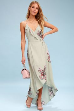 6e8789c9d515 Alter Your Mood Sage Green Floral Print High-Low Wrap Dress