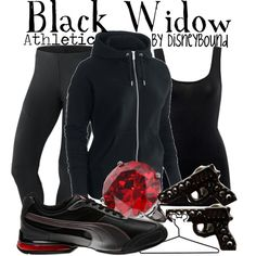 """Black Widow"" by lalakay on Polyvore #disney Minus the nasty ring I love it... the gun earring are cute!"