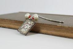 Red and Ivory Pride and Prejudice Dangling Beaded Bookmark with Book Charm by belleonabudget