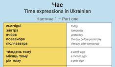 Time expressions in Ukrainian - Ukrainian Lessons Ukrainian Language, Grammar Rules, Wrong Time, My Passion, Languages, Ukraine, Vocabulary, English, Popular