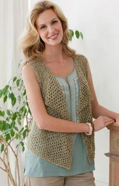 Four Seasons Knit Vest - free knitting pattern All Free Knitting, Knitting Patterns Free, Knit Patterns, Free Pattern, Lace Knitting, Crochet Vest Pattern, Knit Or Crochet, Crochet Woman, Free Crochet