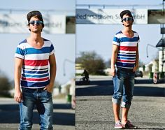 Urban Outfitters Coloured Sneakers, Nudie Jeans Washed Denim, Zara Navy Shirt, Blue Glasses, Burton Striped Cap