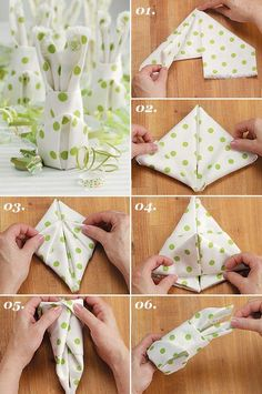 Make your own table decorations for Easter - 70 craft ideas for that special, personal touch - Easter bunny napkins fold table decoration make yourself - Bunny Napkin Fold, Napkin Folding, Easter Crafts, Holiday Crafts, Easter Ideas, Decorative Napkins, Diy Ostern, Origami Tutorial, Diy And Crafts