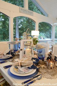 Nautical Table Setting, We're taking the boat out and going shelling!