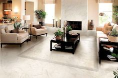 Contemporary living room with a beige sofa on white marble floor Living Room White, White Rooms, Living Room Decor, Living Rooms, Floor Design, Home Design, Design Ideas, Best Flooring, Tile Flooring