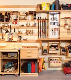 Woodwork Shop Hyperorganize Your Shop - A hook-and-slat wall system puts everything at your fingertips. - Popular Woodworking Magazine - This story originally appeared in American Woodworker November issue Popular Woodworking, Woodworking Shop, Woodworking Plans, Woodworking Projects, Unique Woodworking, Woodworking Apron, Youtube Woodworking, Intarsia Woodworking, Workshop Storage