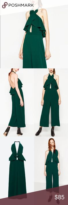 Zara Jumpsuit with crossover neckline. Long jumpsuit with halter neck and frill. Front slits. Open back. Zara Pants Jumpsuits & Rompers