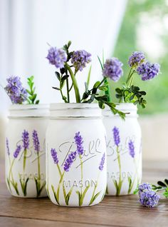 Paint Distressed Mason Jars - painted lavender flower mason jars