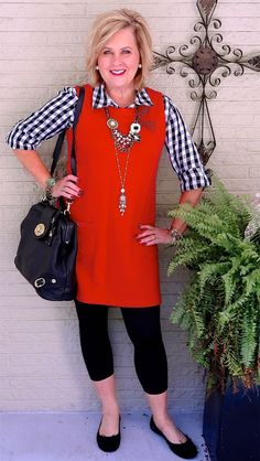 50 IS NOT OLD | FAVORITE COLOR COMBINATION | Leggings | Red & Black | Dress or Tunic | Gingham Plaid | Fashion over 40 for the everyday woman
