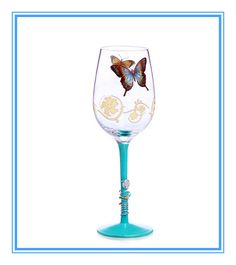 butterfly decal glass goblet