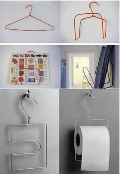 Use a hanger to hang your toilet paper :D! Wire Hanger Crafts, Wire Hangers, Diy Home Crafts, Diy Home Decor, Metal Coat Hangers, Ideias Diy, Diy Recycle, Reuse, Home Organization