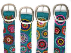 Wool embroidered belt light blue with circles by EmbroideryPeru, $36.99