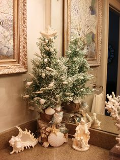 Sea shell tree in my hall bathroom (made for Christmas 2012). Designed by Christine Dir Jones