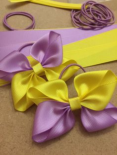 Girls handmade hair bows, grosgrain ribbon bows, yellow and lilac hair bows, uk hair bows