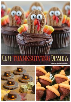 Cute Thanksgiving Desserts - Nutter Butter Turkeys, Acorn Treats, and Pilgrim Hat Cookies - All fun and easy for kids to make too!