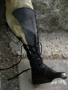 """Medieval Men's High Leather Boots """"Forest""""; Black leather shoes with lacing"""