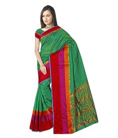 Women's Green Color Cotton Saree or Sari with Blouse and Big Multi Patta Pattern From Vaibhav Laxmi Automation