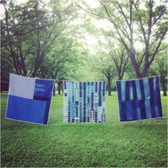 Handmade quilts by Maura Ambrose of Folk Fibers. She created this batch using recycled denim in collaboration with Levi's.  See more from Maura on the Folk Fibers site.  Via: One Trip Pass