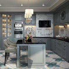 Ещё один ракурс интерьера кухни для квартиры в #жкмосфильмовский и такой красивый серый цвет  #диана_тараканова #дизайнкухни #интерьеркухни