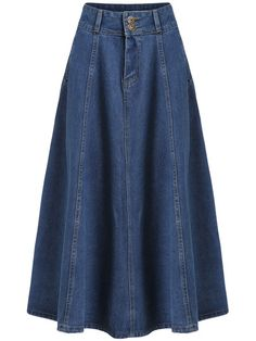To find out about the Blue High Waist Pockets Denim Long Skirt at SHEIN, part of our latest Skirts ready to shop online today! Blue Skirt Outfits, Modest Outfits, Classy Outfits, Modest Clothing, Cotton Dresses Online, Long Skirts For Women, Facon, Denim Fashion, Fashion Dresses