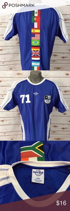 Hard Rock Cafe blue and white soccer jersey size L GUC Hard Rock Cafe 100% polyester blue and white soccer jersey with world flags on back. LIVE Love Play Hard Rock Cafe Shirts Tees - Short Sleeve