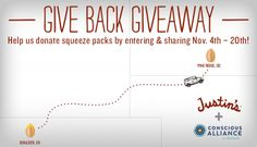 I just entered to win a Justin's prize basket and  for every new \&%2334;Like\&%2334; Justin's receives, they'll donate a squeeze pack to Pine Ridge Reservation in South Dakota!